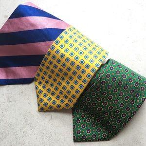 Lot of 3 J.Crew neckties 100% silk stripe, print